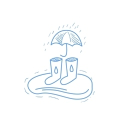 Rubber Boots Puddle And Umbrella vector