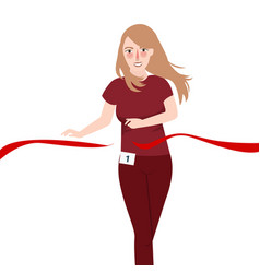 running girl win race pass red ribbon vector image