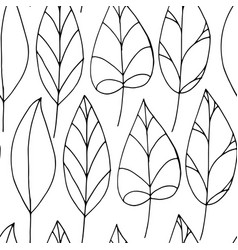 Seamless pattern with colorless leaves on white vector
