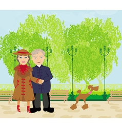 Senior couple walking in sunny day with a dog vector