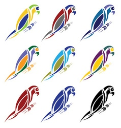 set abstract macaw parrot vector image