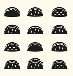 Set black tortilla tacos food icons set eps10 vector