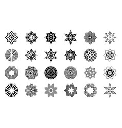 set of abstract geometric symmetric center shapes vector image