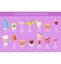 Set of alcohol cocktails icons Flat style design vector image