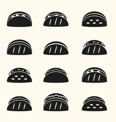 set of black tortilla tacos food icons set eps10 vector image