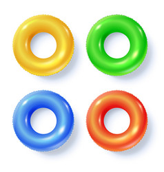 Set of swimming rings isolated on white top view vector