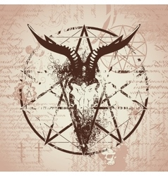 skull of goat and pentagram vector image