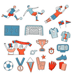 soccer football player game match fans outline vector image