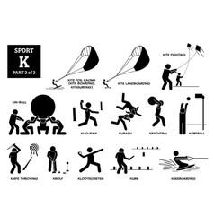Sport games alphabet k icons pictograph kite foil vector