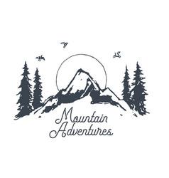 sunrise mountains logotype vintage nature vector image