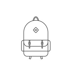 thin line black backpack icon vector image