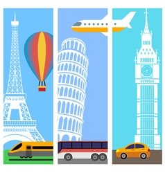 Transport travel vertical banners vector