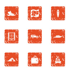Unknown way icons set grunge style vector