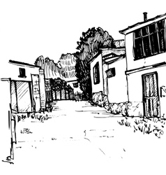 Urban sketch village street vector