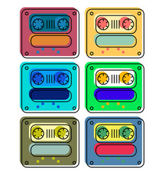 vintage cassette colour tapes vector image