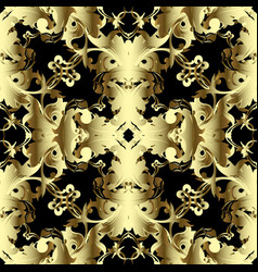 vintage gold 3d baroque seamless pattern vector image