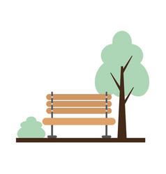 wooden bench tree bush park vector image