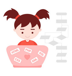 young girl learns web programming vector image