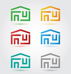 Abstract home icons set in different colors vector image vector image