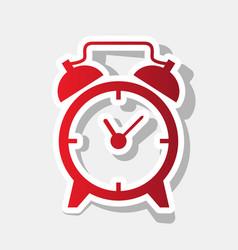 alarm clock sign new year reddish icon vector image
