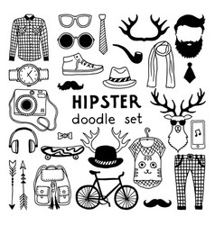 doodle set with different hipster style vector image