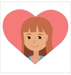 drawing of icon young woman in the heart vector image vector image