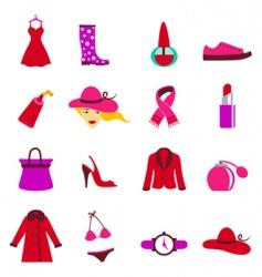 fashion woman icons vector image vector image