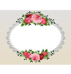 vintage roses bouquet frame vector image vector image