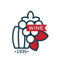 wine label 1935 red and blue logo design vector image vector image