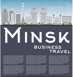 Minsk skyline with grey buildings blue sky vector image vector image