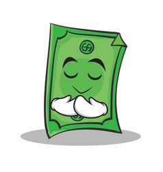 praying face dollar character cartoon style vector image