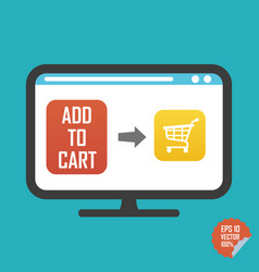 shopping cart on screen and add to cart button vector image