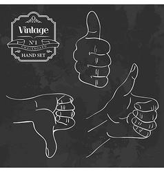 Vintage chalkboard hand set vector