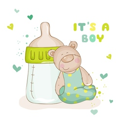 Baby Shower or Baby Arrival Cards - Cute Baby Bear vector image vector image
