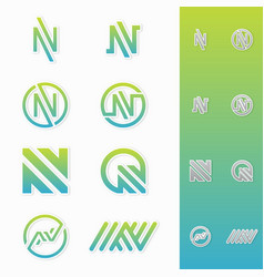 best simple letter n logo icon vector image