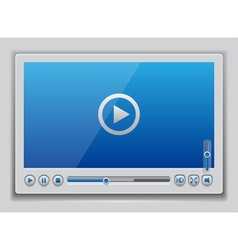 Blue glossy video player template vector image