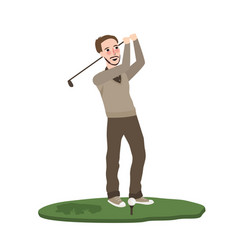 man play golf swing course swing flat vector image vector image