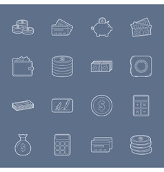 Money and financial thin lines icons set vector image