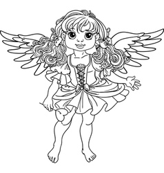Pretty angel girl with wings black outline vector image