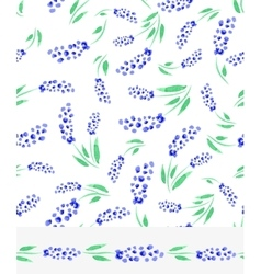 Watercolor blue muscari flowers seamless pattern vector image vector image