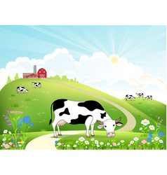 dairy farm and a herd of cows on a beautiful vector image