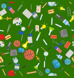different school objects in good seamless pattern vector image
