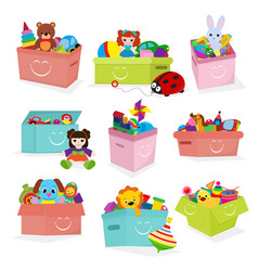 kids toys box baby container with toyshop vector image