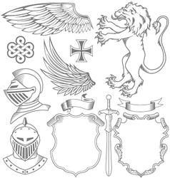 set of knight heraldic elements vector image