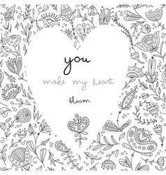 you make my heart bloom white card vector image vector image