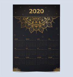 2020 calendar mandala gold effect vector
