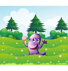 A three-eyed violet monster above the hill vector