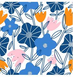 abstract flower garden seamless pattern vector image