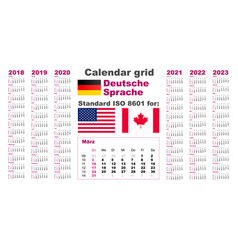American calendar standard us deutsch german vector
