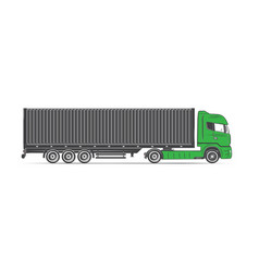 american cargo truck isolated on white freight vector image